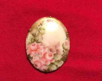 Vintage Floral Rose Painted Cameo Pendant