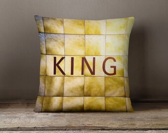 Toronto Subway Sign Pillow - King Station - Yellow Home Decor, Subway Art, Made in Canada Retro Decor - 16x16 or 20x20 Throw Pillow Cover