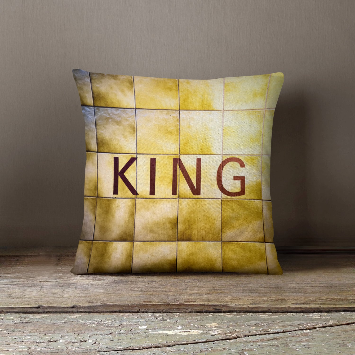 Toronto Subway Sign Pillow King Station Yellow Home Decor