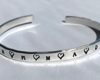 Stamped Skinny Bracelet - Tiny Bracelet- Personalized Bridesmaid Gift - Stacking Personalized Cuff - Mother of the Bride Gift