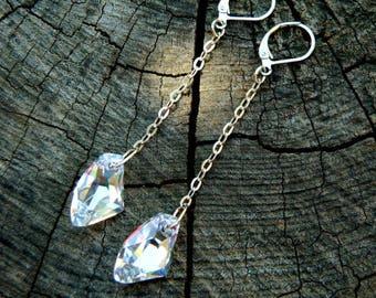 Birthday jewelry Crystal Swarowski delicate earrings Statement jewelry Dangle earrings Mother gift Wedding Drop earrings Celestial Jewelry