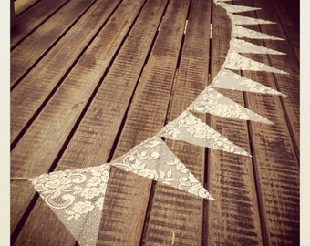Rustic Vintage Wedding 2 meter LACE Bunting Banner Baby Shower Engagement Party Barn Tea Garden Christening