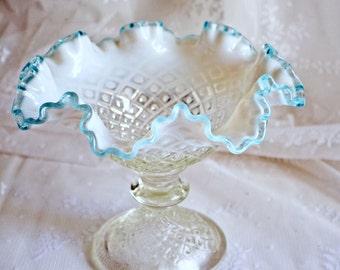 Vintage Fenton Glass Opalescent Blue Hobnail Compote