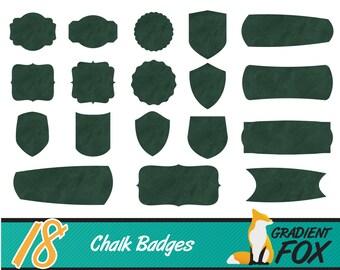 18 Green Chalk Board Badges - Chalk Board Clip Art - Digital Download - High Resolution PNG - INSTANT DOWNLOAD