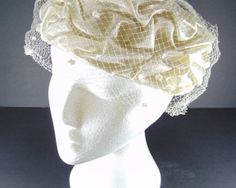 Vintage Ivory and Silver Ruched Hat, Ivory Pillbox Hat 1950/60's