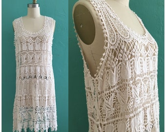 vintage 70's macramé dress // cotton floral crochet dress