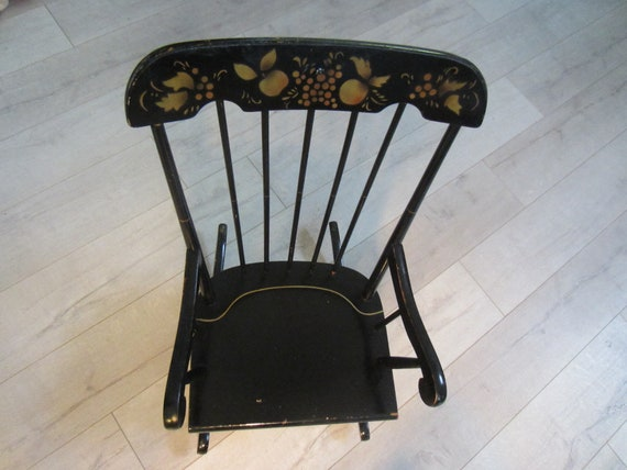 Windsor Style Child Rocking Chair Black Wood Gold Leaf Fruit