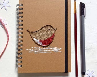 Robin Notebook, A6 spiral hardcover, christmas gift, mixed media notebook, stocking filler, cute stationary, winter Journal, note pad.
