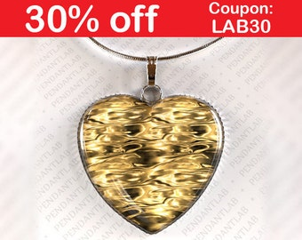 Liquid Gold Pendant (imit.), Heart Pendant, Heart Necklace, Yellow Bridesmaid Necklace, Mustard Yellow Necklace, Yellow Pendant