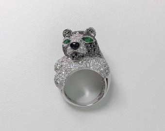 Ring, gold 750, diamonds, sapphires, emeralds