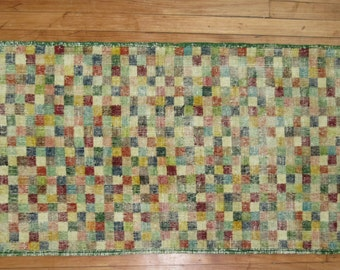 Vintage Checkerboard Turkish Deco Rug Size 2'3''x5'