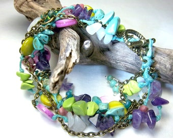 Boho Bracelet, Colorful, Knotted,  Gemstone Chips, Turquoise, Pink, Green, Purple, White, Bronze