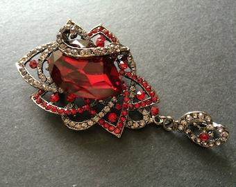 SALE - Romantic Dangly Bridal Ruby Red Swarovski Rhinestones Crystals Wedding Brooch Pin, Crystals Brooch, Rhinestones Brooch