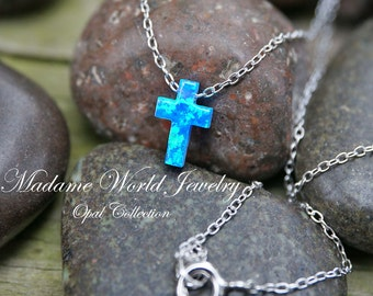 Reconstitute Blue Opal Cross Necklace