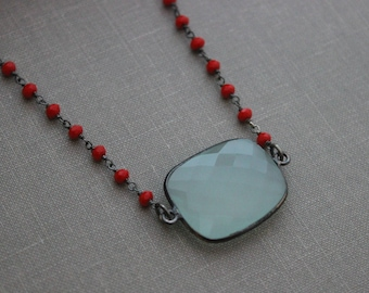Aqua Chalcedony Bezel Necklace, Wire Wrapped Red Coral Hydro Quartz Rosary Chain, Darkened Sterling Bezel Necklace, Seafoam blue Ocean
