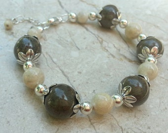 Memorial Bead Bracelet - Custom Keepsake Stoneware Pottery Pet Cremains Jewelry - FLORAL TIDE Beaded Bracelet