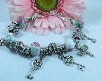 European Style Pink Flowers, Keys and Butterflies Charm Bracelet