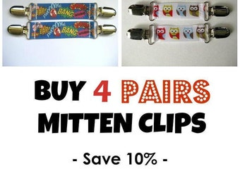 4 Pairs MITTEN CLIPS for Children Mittens - 70+ Ribbons for Mitt Clips- Sleeve Clip for Winter Jacket- Glove Clips- Mitten Keeper- Baby Gift