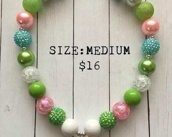 Tinkerbell Bubblegum necklace, little girls jewelry, fairy, green bubblegum necklace, bubblegum beads, pixie