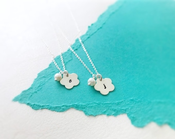 TWO Personalized flower girl or Junior bridesmaid necklaces, flower girl gifts, custom initial, birthstone necklace, childs necklace