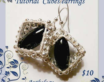Tutorial - cubes earrings - wire wrapped, wire, cluster earrings, wire jewelry