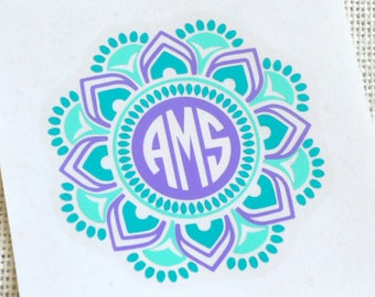 Mandala Monogram Decal, Mandala Decal, Mandala Monogram, Monogram Mandala Decal, Car Decal, Personalized Decal,