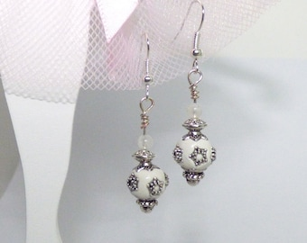 White Moonstone and Indian earrings