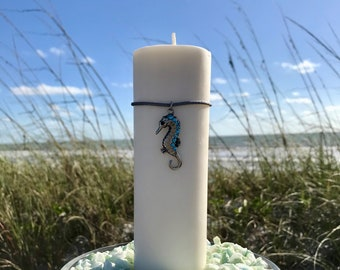 Soy Pillar on the Rocks with a Silver Seahorse & Ocean Blue Stones. Mother's Day Gift!! Beach Wedding Centerpiece!