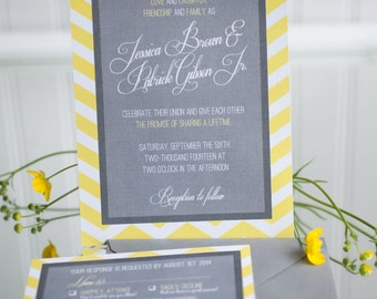 Gray and Yellow Chevron Wedding Invitation