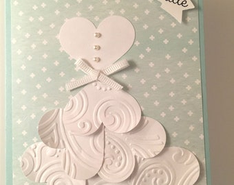 Embossed Hearts Bridal Shower Card