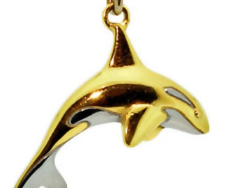Orca killer whale necklace blackened sterling silver orca orca killer whale gold necklace yellow gold whale pendant charm with rhodium white patches aloadofball Choice Image
