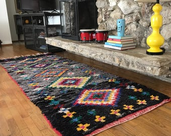 """FREE SHIPPING!!! """"SOKO"""" Boho Chic Rug Vintage Moroccan Boucherouite in Multi Colors (Los Angeles)"""