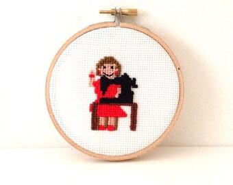 Gift for seamstress. Cross stitch pattern of a dressmaker. DIY gift fashion designer.