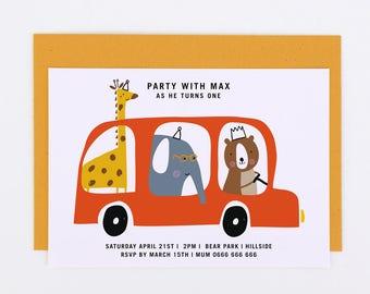 Boys party invite, Printable party invitation, boys first birthday party bus invitation, boys birthday invite, red bus invitation