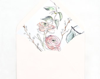 Botanical Envelope Liner No. 2: Blush, Sage Watercolor Ranunculus