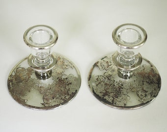 Sterling Silver Overlay Candlesticks