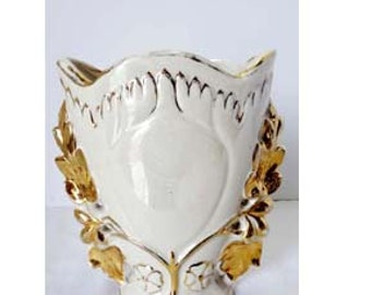 Flower Vase Cream with Gold Leaf Porcelain Home and Garden Decor Vases Flower Vases