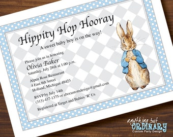 Peter Rabbit Invitation, Peter Rabbit Baby Shower, Vintage Blue and Gray, Beatrix Potter printable invitation digital file