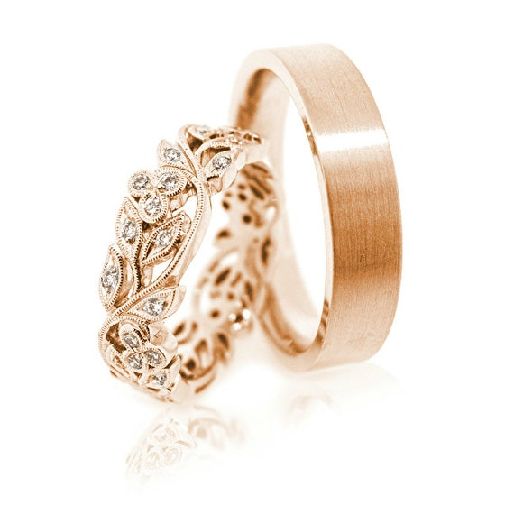14k Gold wedding bands Wedding ring set Unique wedding