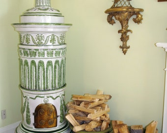 "Antique 19th Century Kachelofen - European Porcelain Stove / Fireplace, Featured in Vogue - 6'5"" or 195cm"