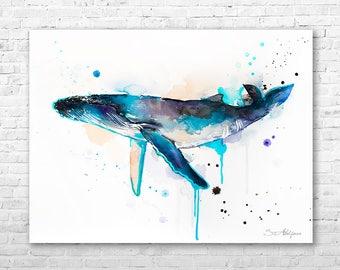 Humpback whale watercolor painting print by Slaveika Aladjova, art, animal, illustration, Sea art, sea life art, nautical, ocean art
