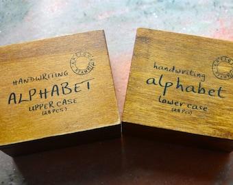56 pcs Funnyman Antique Writing Alphabet Rubber Stamp-Lower Case & Upper Case