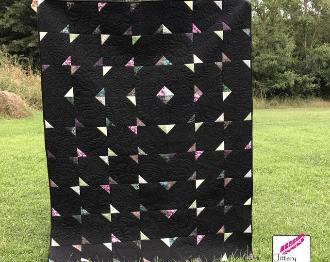 Midnight Compass Twin Bed Quilt - (Finished Quilt - Not a pattern)