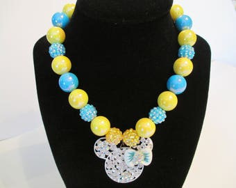 CHUNKY NECKLACE,  BEADED Necklace,  Girls Necklace,  Bubble Gum Necklace,  Gift For Her,  Mini Inspired Necklace,  Blue, Yellow Necklace