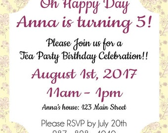 "Tea Party 5""x5"" Custom Party Invitation Digital Printable"