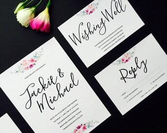 Elegant Floral Wedding Invitation and RSVP - Calligraphy Wedding Invitation - Formal Classic Wedding Invite - Floral Wedding Stationery