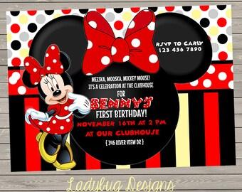 Minnie o Mickey cumpleaños invitación