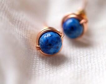 Lapis lazuli stud earrings, rose gold stud earrings, september birthstone color, stud earrings wirewrapped rose goldfilled wire