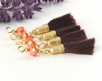 Brown-Orange,Handmade Beaded Tassel Dangles, Earring Dangles, Tassel Dangles, 4 pieces // TAS-144