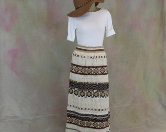 Boho maxi skirt, possibly hand made crochet throughout retro chic  concert coachella burning man